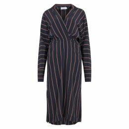 A.L.C. Nico Navy Striped Silk Midi Dress