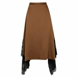 Christopher Kane Toffee Lace-trimmed Satin Midi Skirt