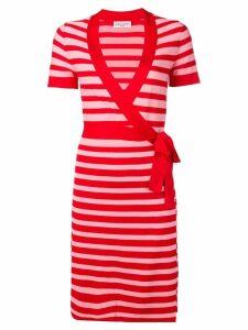 Sonia Rykiel striped knit wrap dress - Red