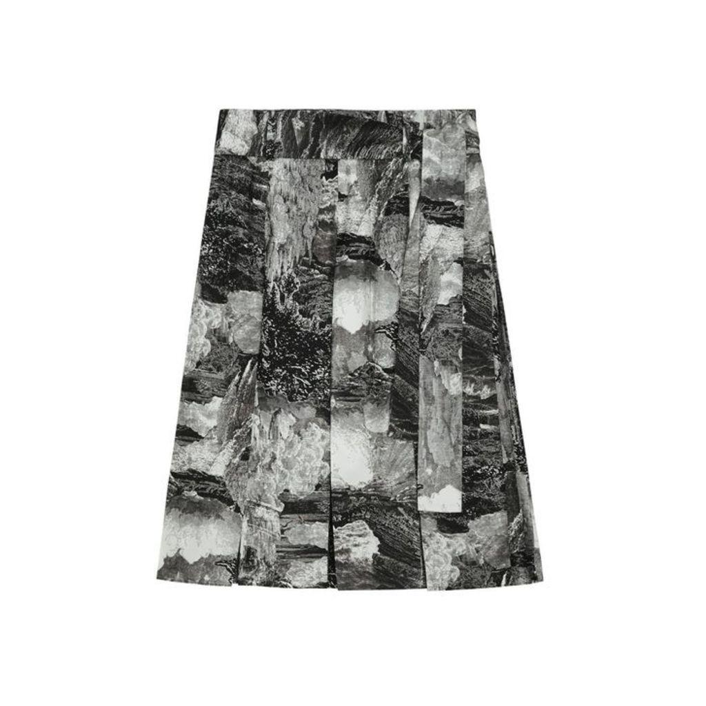 Burberry Dreamscape Print Pleated Silk Tie-waist Skirt