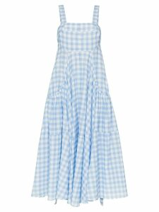 Lee Mathews Clara gingham print apron sundress - Blue