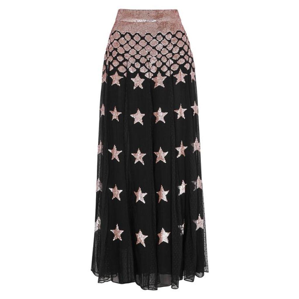 Temperley Starlet Sequinned Chiffon Maxi Skirt