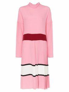 Marni contrast waist pleated skirt midi dress - Pink