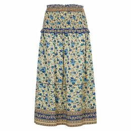 Sea NY Doe Printed Midi Silk Skirt