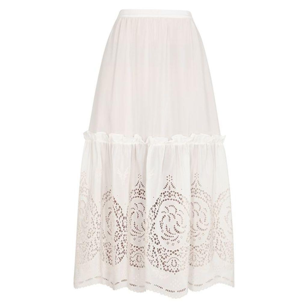 Stella McCartney Ivory Broderie Anglaise Silk Skirt