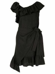 Goen.J ruffle-trimmed wrap dress - Black