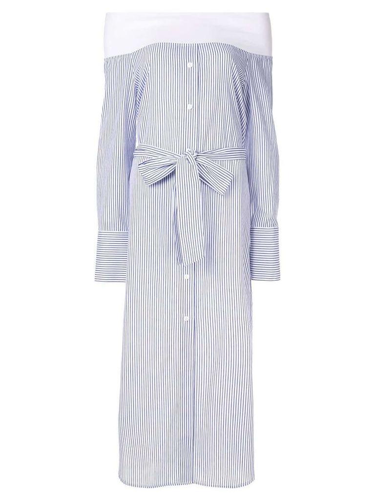 Goen.J off-the-shoulder striped dress - Blue