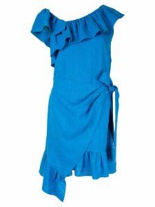Goen.J ruffle-trimmed wrap dress - Blue