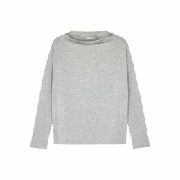 Vince Grey Wide-neck Stretch-jersey Top