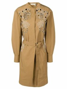Chloé embroidered shirt dress - Brown