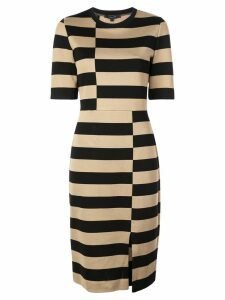 Derek Lam Offset Stripe Jersey Dress - Black