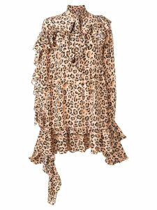 Rokh leopard-print ruffle dress - Neutrals