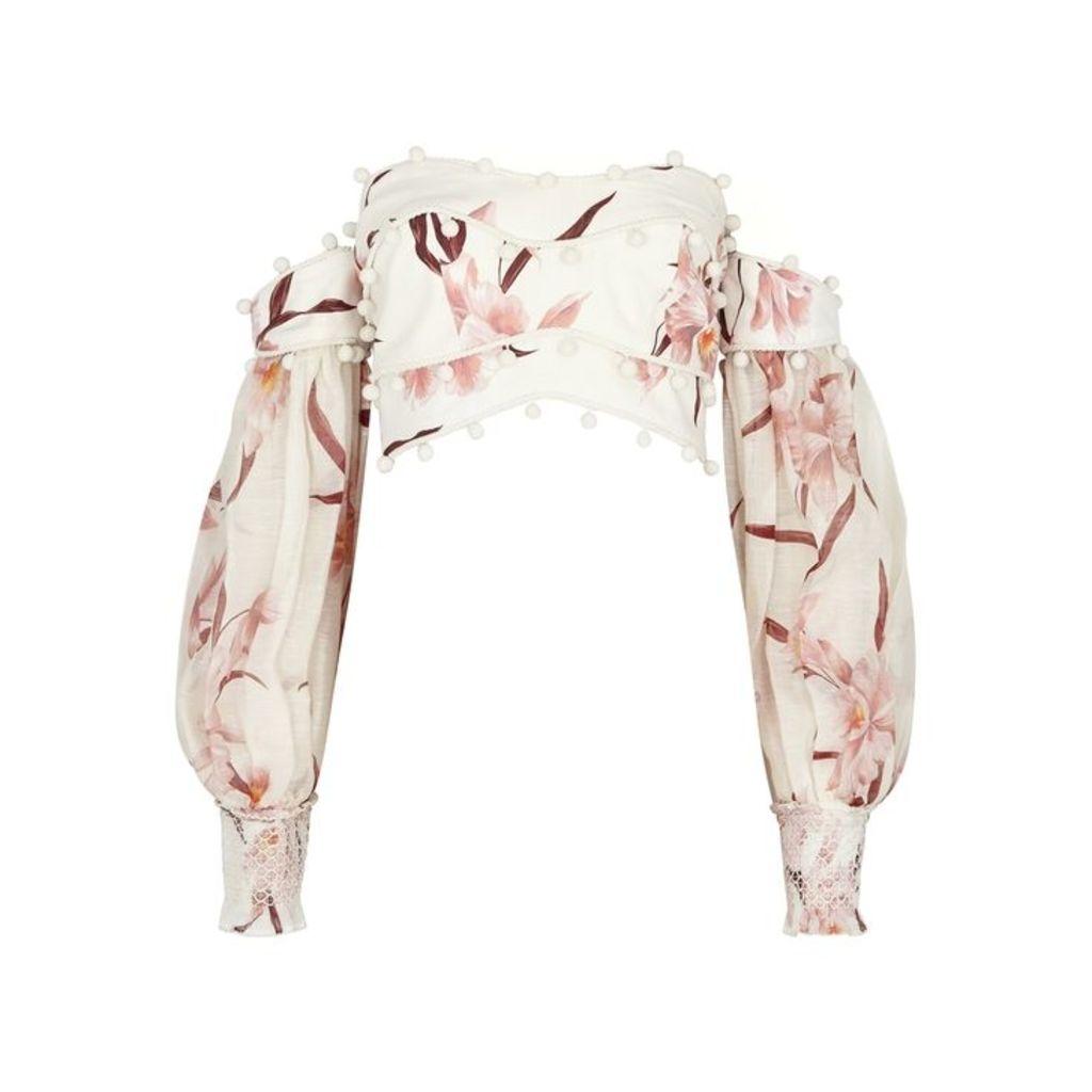 Zimmermann Corsage Floral-print Cropped Linen Top