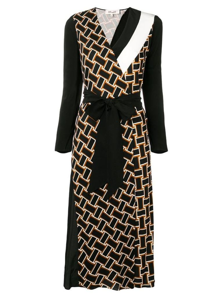 Dvf Diane Von Furstenberg printed belted dress - Black
