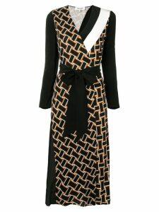 Dvf Diane Von Furstenberg printed belted dress - Black