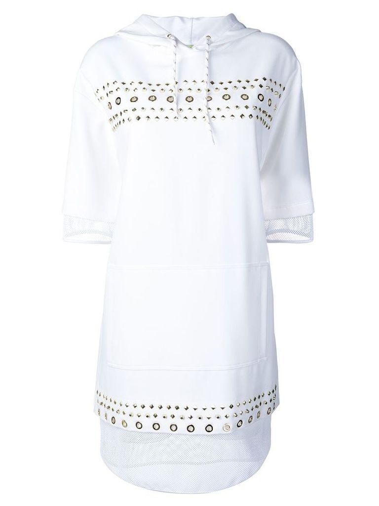 Versace Jeans studded fishnet hooded dress - White