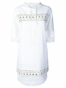 Versace Jeans Couture studded fishnet hooded dress - White