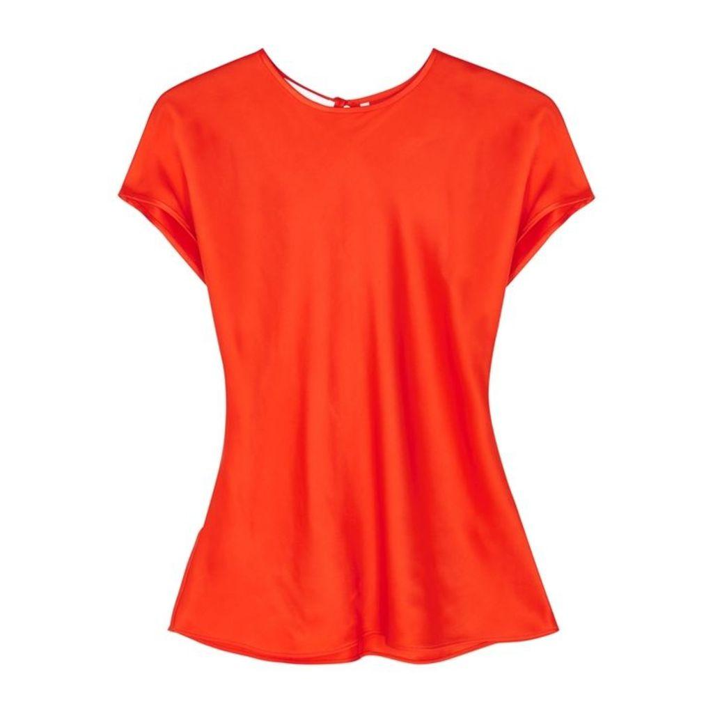 Helmut Lang Orange Satin Top