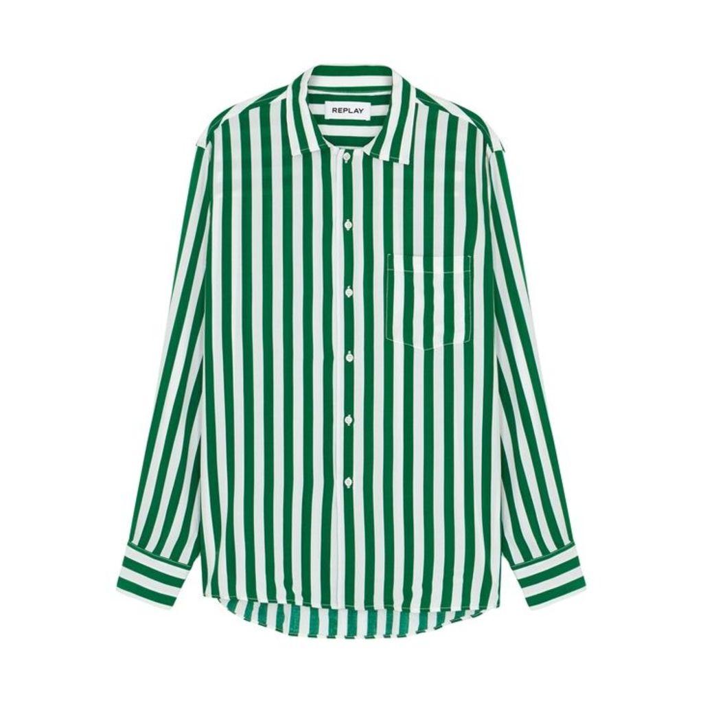 Replay Green Striped Shirt