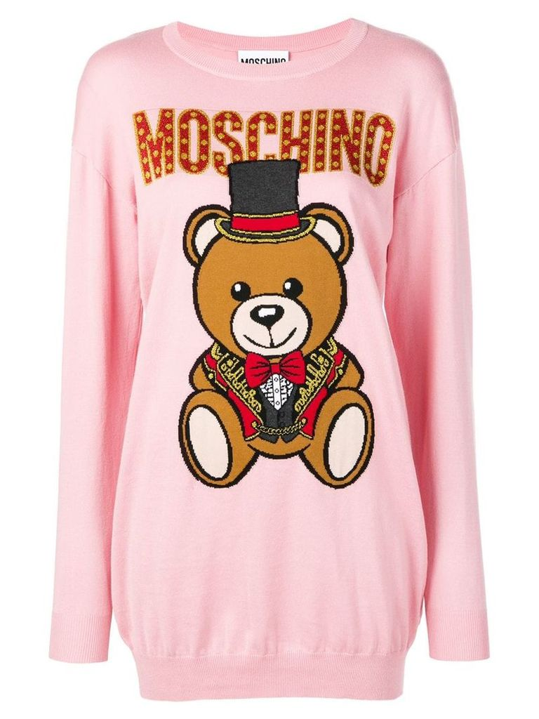Moschino knitted bear sweater dress - Pink
