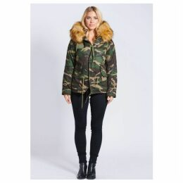 Popski London Fabulous Faux Camouflage Parka Jacket With Faux Fur Collar Natural