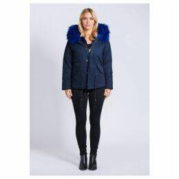 Popski London Fabulous Faux Navy Parka Jacket With Faux Fur Collar Navy