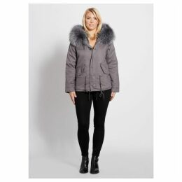 Popski London Grey Parka Jacket With Matching Raccoon Fur Collar
