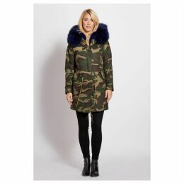 Popski London 3 4 Camouflage Parka With Navy Fur Collar And Lining