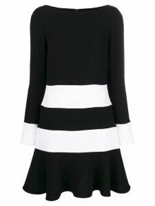 Talbot Runhof bi-colour flared dress - Black