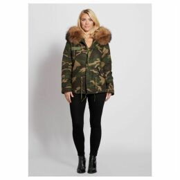 Popski London Camouflage Parka Jacket With Raccoon Fur Collar Natural