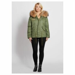 Popski London Parka Jacket With Raccoon Fur Collar Natural