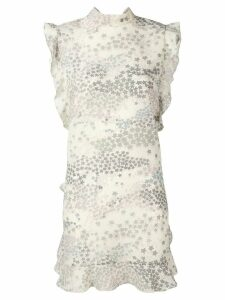 Red Valentino star print ruffle trim dress - Grey