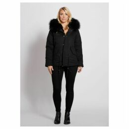 Popski London Popski London Black Fur Lined Parka Jacket With Black Raccoon Collar