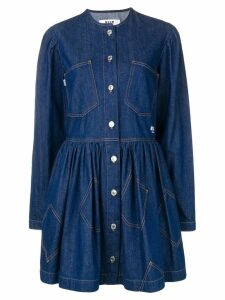 MSGM embroidered denim shirt dress - Blue