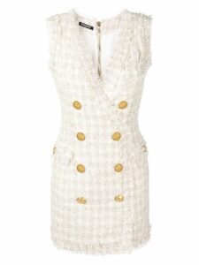 Balmain double-breasted tweed dress - Neutrals