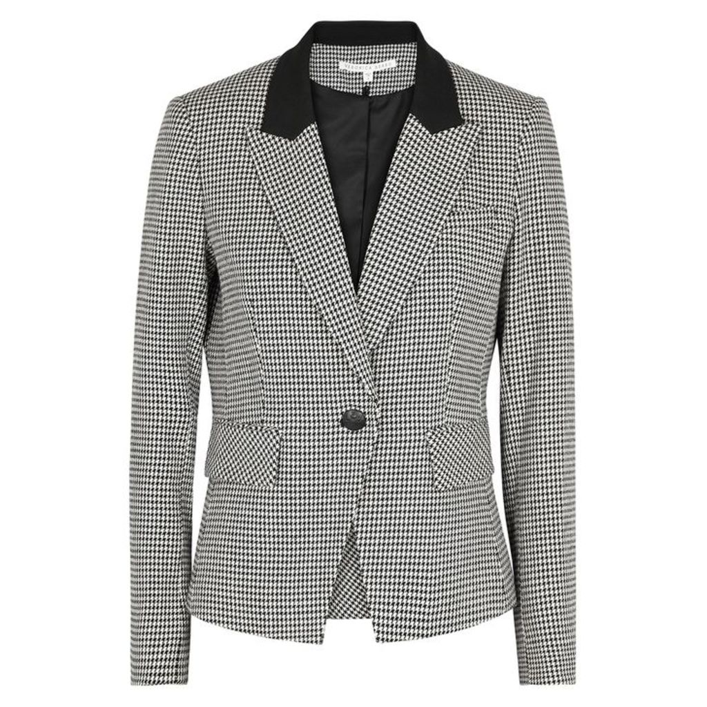 Veronica Beard Airlie Dickey Houndstooth Cotton-blend Blazer