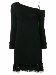 Nº21 lace trim off the shoulder sweater dress - Black