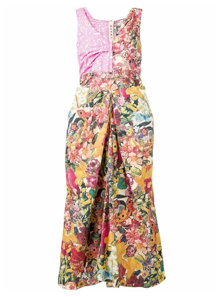 Marni long patch dress - Pink