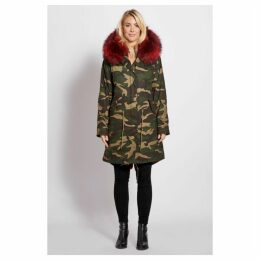 Popski London 3 4 Camouflage Parka With Burgundy Fur Collar And Lining