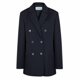 Valentino Navy Double-breasted Wool Blazer