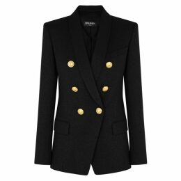 Balmain Black Metallic Stretch-wool Blazer