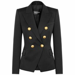 Balmain Black Double-breasted Wool Blazer