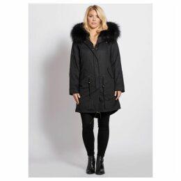 Popski London Popski London Black 3 4 Length Parka With Matching Raccoon Fur Collar