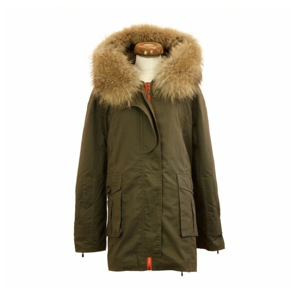 Popski London Green Parka Jacket With Natural Raccoon Fur Collar