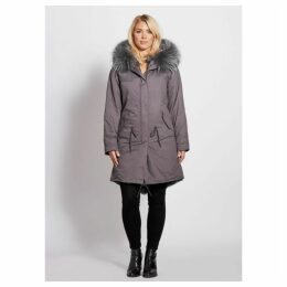 Popski London Popski London Grey 3 4 Length Parka With Matching Raccoon Fur Collar