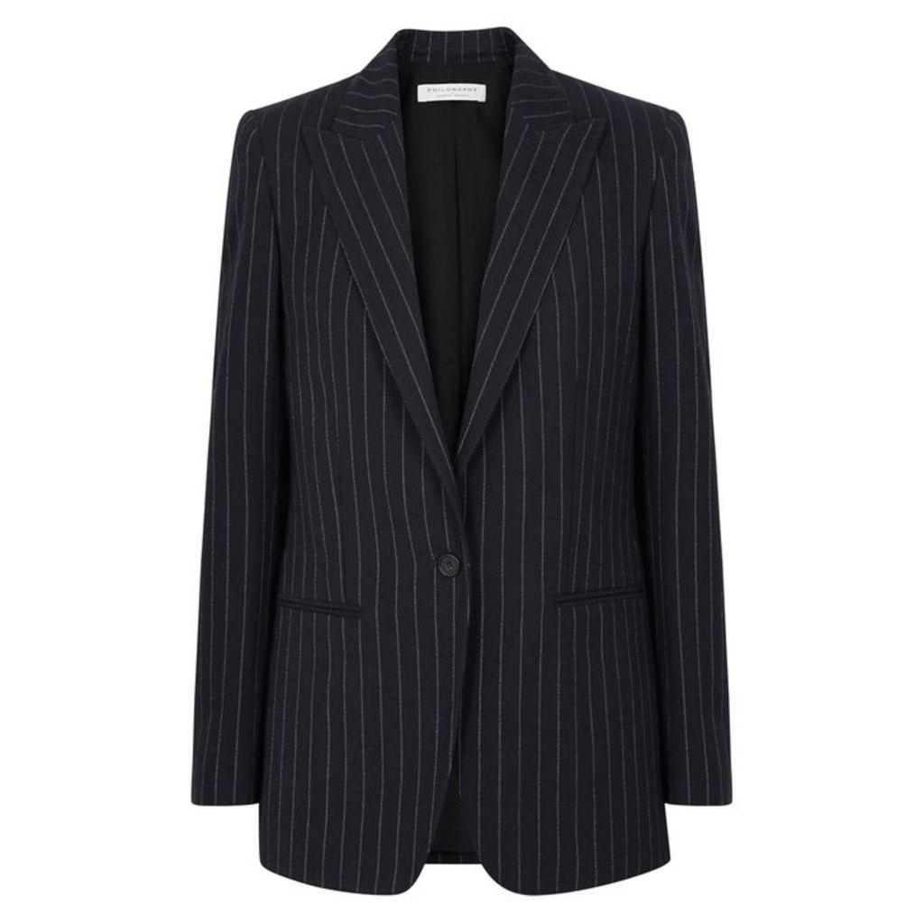 Philosophy Di Lorenzo Serafini Pinstriped Cotton And Wool-blend Blazer