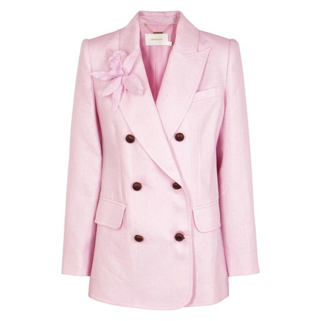 Zimmermann Corsage Pink Linen Blazer