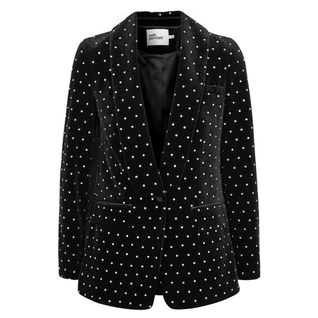 Self-Portrait Black Crystal-embellished Velvet Blazer