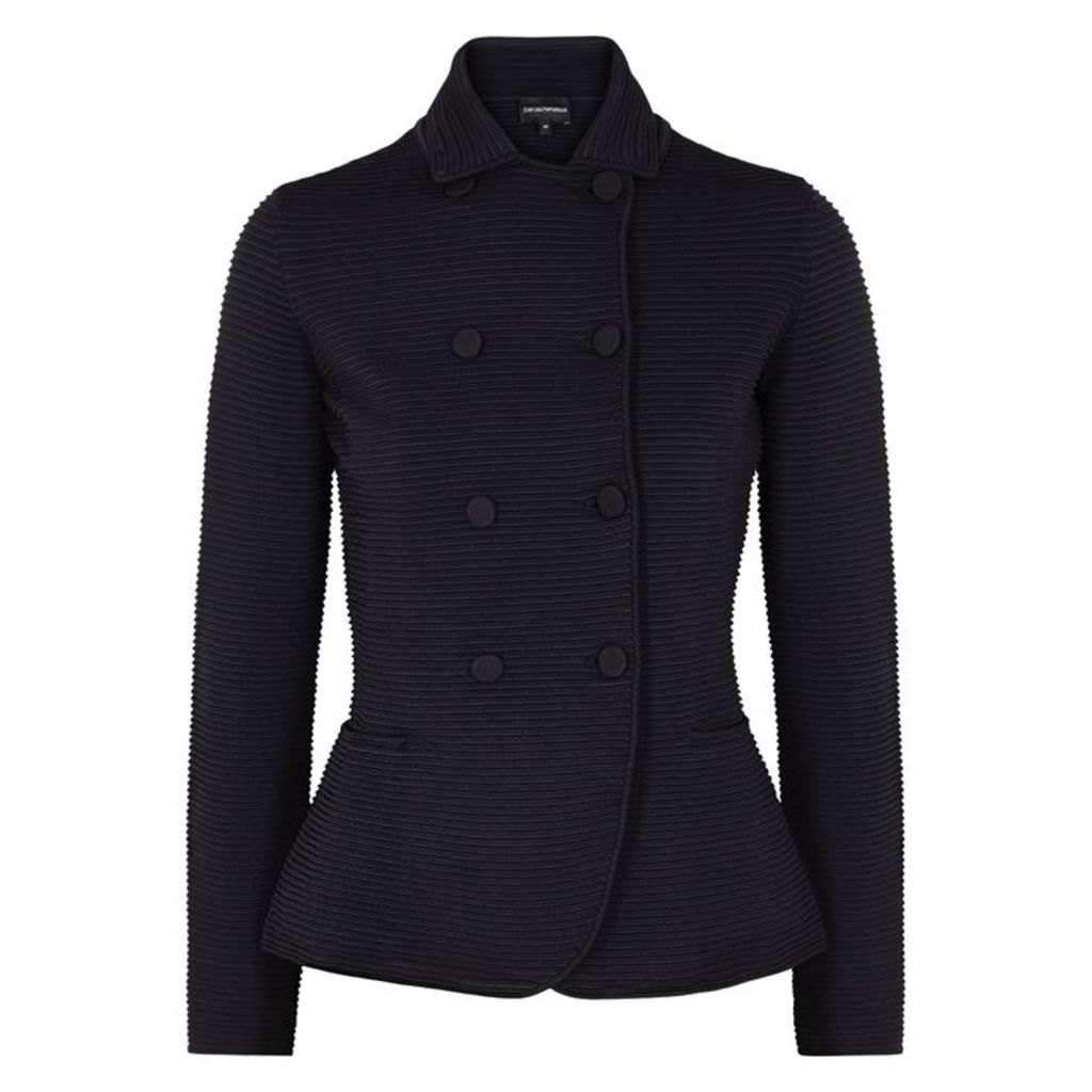 Emporio Armani Two-tone Ribbed-knit Blazer