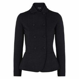 Emporio Armani Two-tone Ribbed-knit Blazer